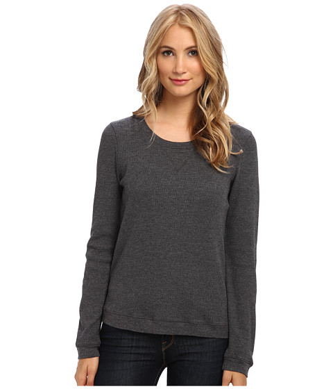 Splendid - Thermal Pullover Top (Charcoal) Women's Long Sleeve Pullover