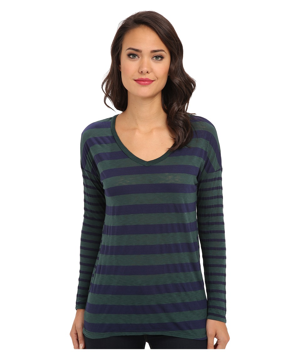 Splendid - Mix Stripe V-Neck Tunic (Evergreen) Women