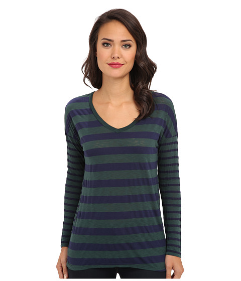 Splendid - Mix Stripe V-Neck Tunic (Evergreen) Women's Long Sleeve Pullover