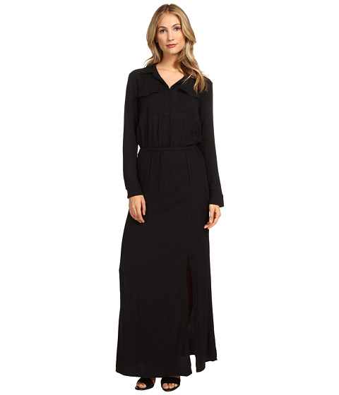 Splendid - Maxi Shirt Dress (Black) Women's Dress