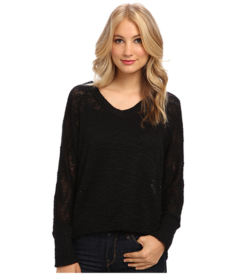 Splendid - V-Neck Loose Knit (Black) Women's Clothing