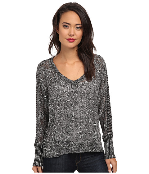 Splendid - V-Neck Loose Knit (Heather Charcoal) Women's Clothing