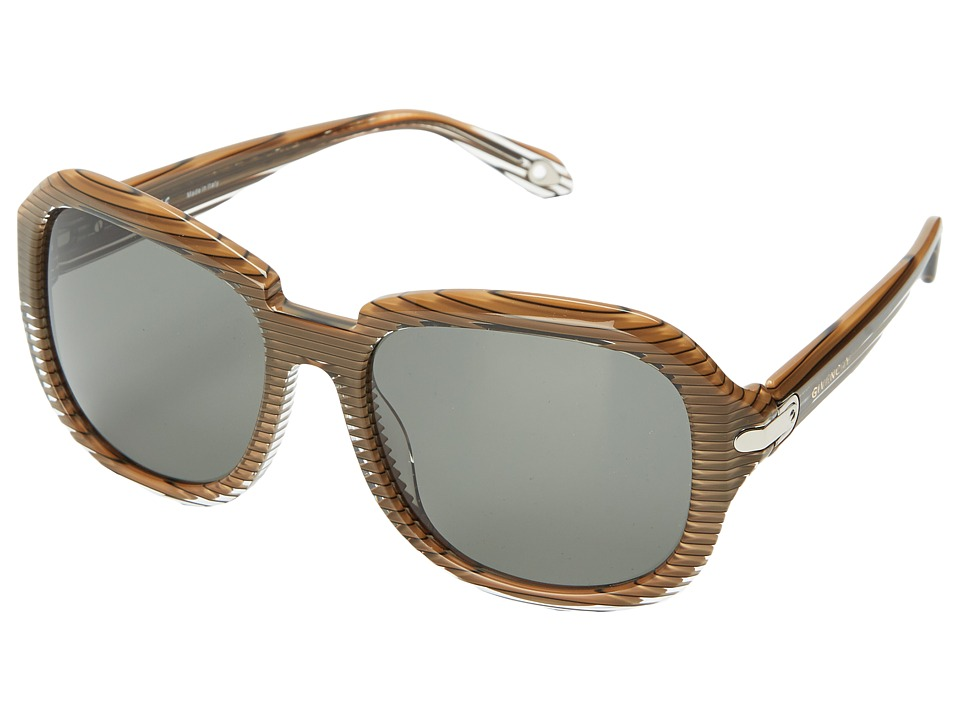Givenchy - SGV 884 (Stripped Brown Silver/Grey) Fashion Sunglasses