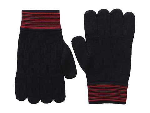 Versace Collection - Striped Cuff Gloves (Red/Navy) Dress Gloves