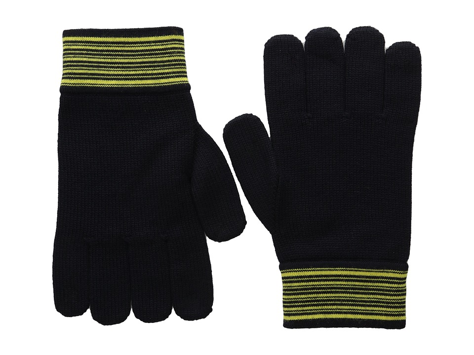 Versace Collection - Striped Cuff Gloves (Black/Yellow) Dress Gloves