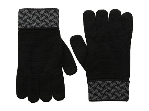 Versace Collection - Interwoven Cuff Gloves (Grey/Black) Dress Gloves