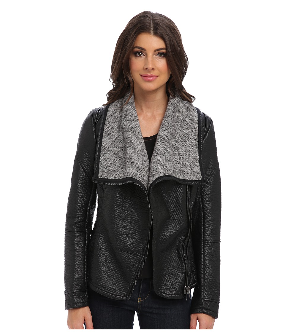 Blank NYC - Black Vegan LeatherJacket w/ Grey Shawl Collar in Stress Eater (Black w/ Grey Shawl Collar/Stress Eater) Women's Coat