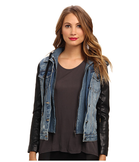 Blank NYC - Denim Jacket w/ Vegan Leather Sleeves in Ripped Off (Ripped Off) Women's Coat