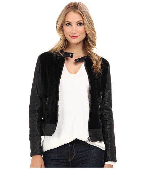 Blank NYC - Black Jacket w/ Faux Pony Hair w/ Zipper (Sniffy Sniffy) Women's Coat