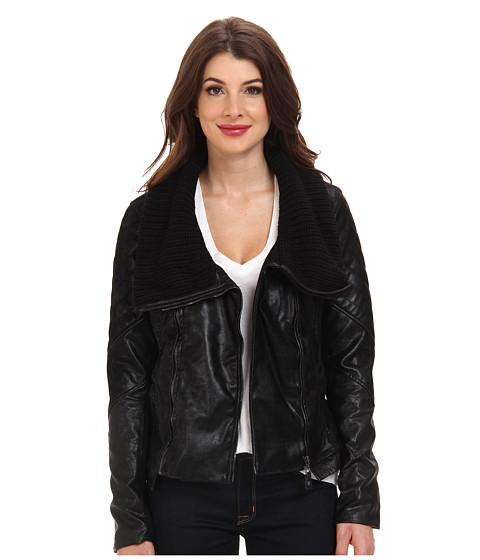 Blank NYC - Black Jacket w/ Sweater Like Collar Detail (Black/Plan) Women's Coat