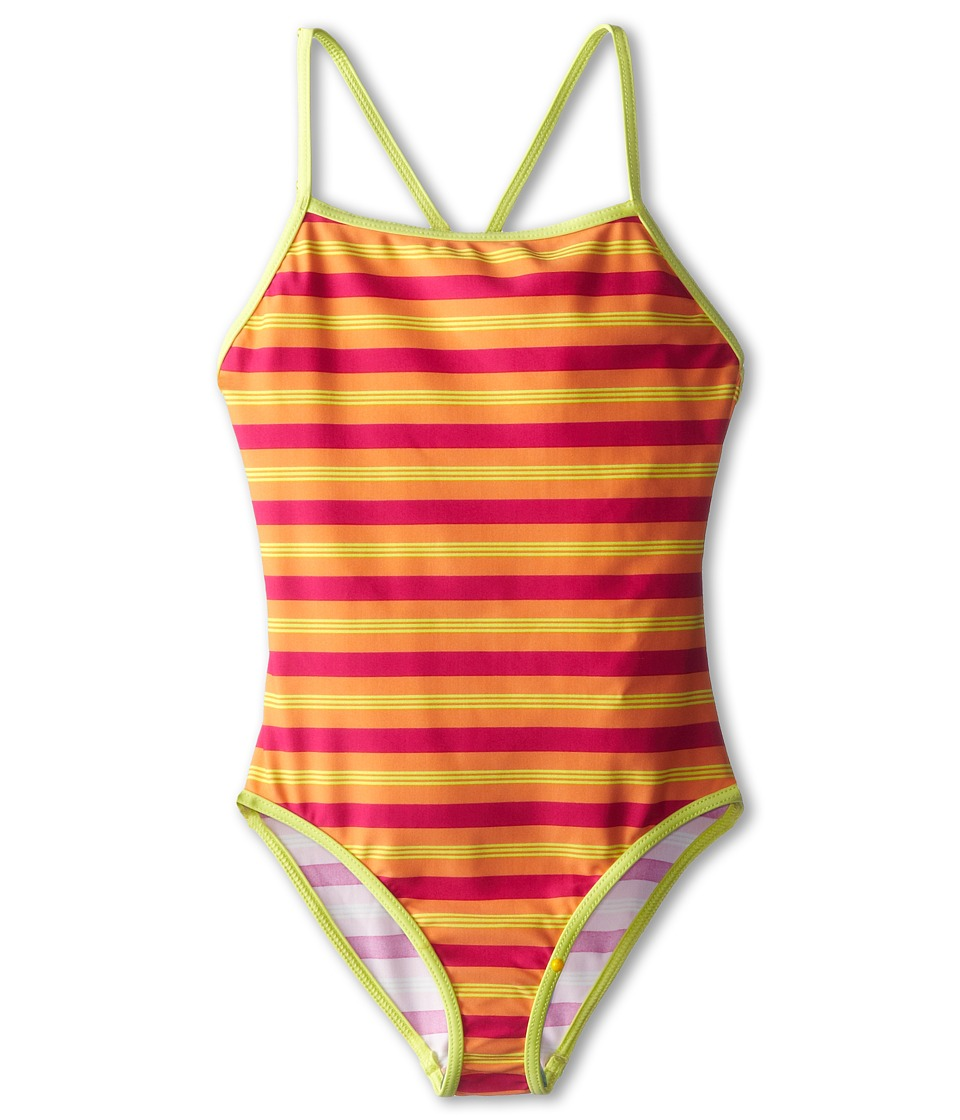 Patagonia Kids - T-Back One-Piece (Little Kids/Big Kids) (Fitzby Stripe: Peach Sherbet) Girl's Swimsuits One Piece