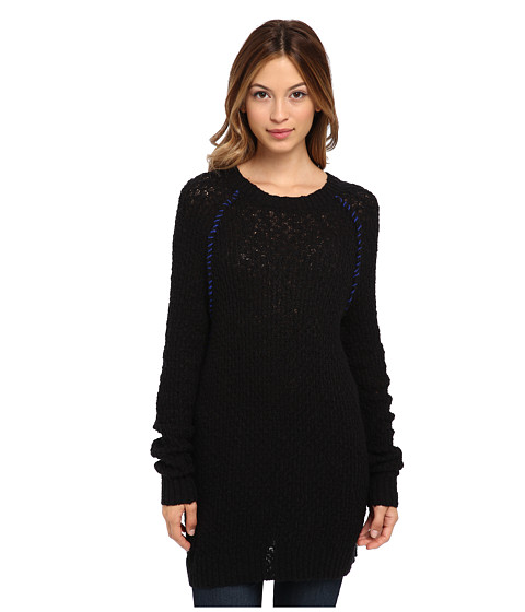 Blank NYC - Black Sweater w/ Blue Knit Detail (Twizzle) Women's Sweater