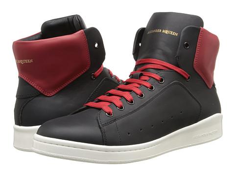 Alexander McQueen - Bicolor High Top Sneaker (Black/Red) Men's Shoes