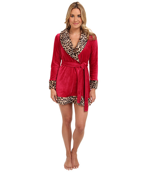 Betsey Johnson - L/S Luxe Velour Robe (Persian Red) Women