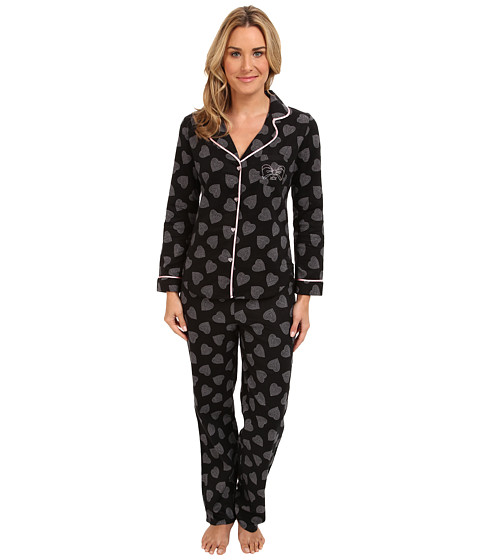 Betsey Johnson - Flannel PJ (Dotted Heart Raven Black) Women's Pajama Sets