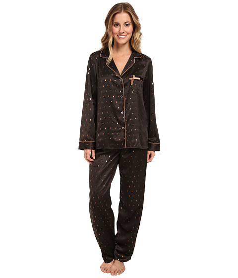 Betsey Johnson - Sexy Satin PJ (Gold Speckles Raven Black) Women's Pajama Sets