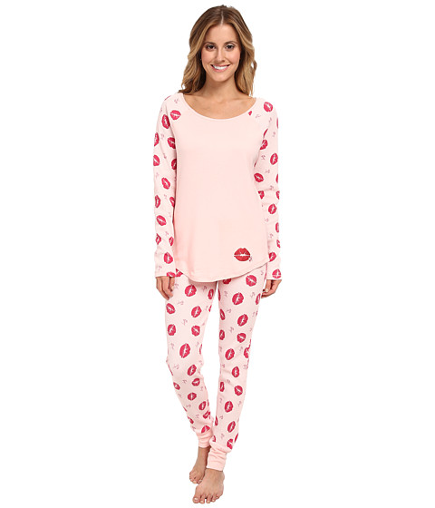 Betsey Johnson - Waffle Thermal PJ Set (Single Lips Veiled Rose) Women's Pajama Sets