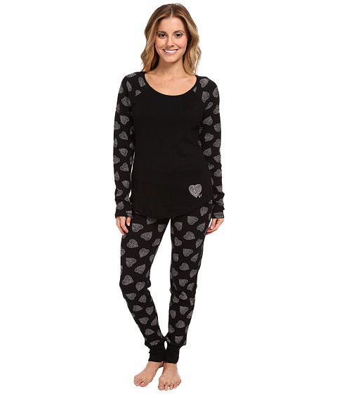 Betsey Johnson - Waffle Thermal PJ Set (Dotted Heart Raven Black) Women's Pajama Sets
