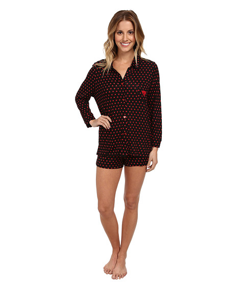 Betsey Johnson - Rayon Knit Short Set (Geo Hearts Raven Black) Women's Pajama Sets