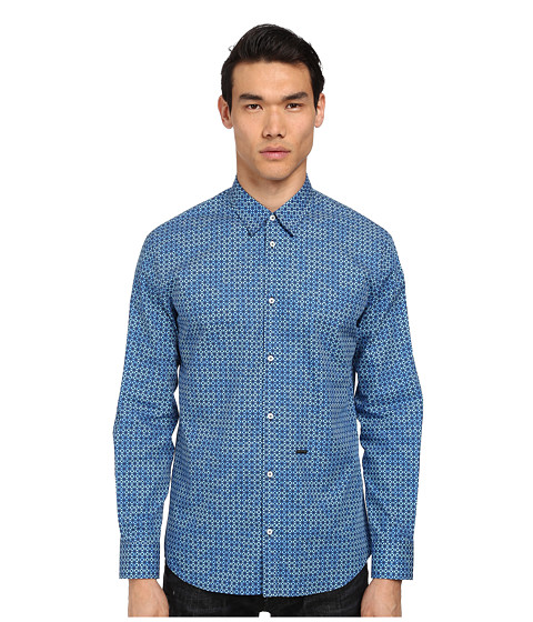 DSQUARED2 - Ethnic Print Relaxed Dan Shirt (Optical Blue) Men's Long Sleeve Button Up