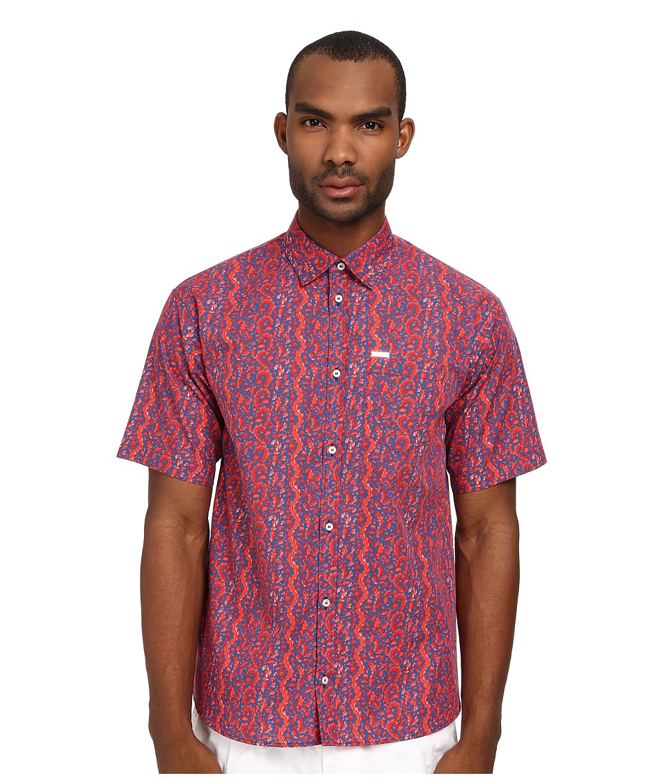 DSQUARED2 - Cotton Poplin Printed Summer Shirt (Blue/Red) Men's Clothing
