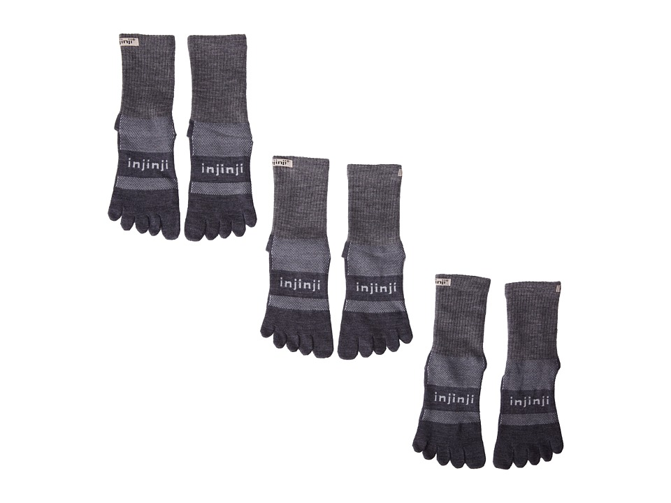 Injinji - 2.0 Outdoor Original Weight Micro 3-Pack (Charcoal) No Show Socks Shoes