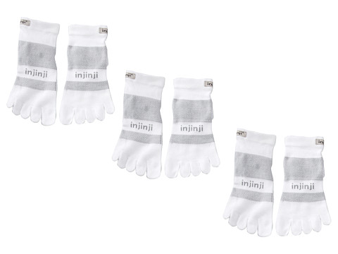 Injinji - Multi-Sport Midweight Mini-Crew 3-Pack (White) No Show Socks Shoes