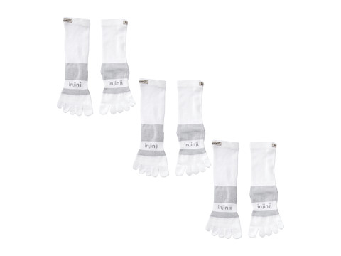 Injinji - Multi-Sport Midweight Crew 3-Pack (White) No Show Socks Shoes