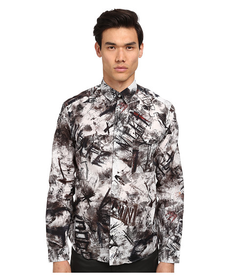 McQ - Squat House Pocket Button Up (Optic White Multi) Men's Clothing