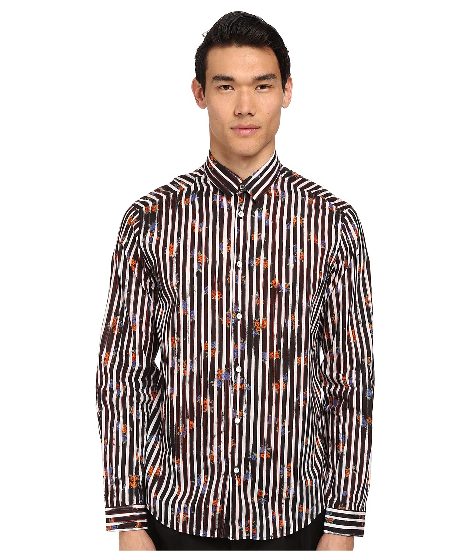 McQ - Free Line Graphic Button Up (Optic White) Men's Long Sleeve Button Up
