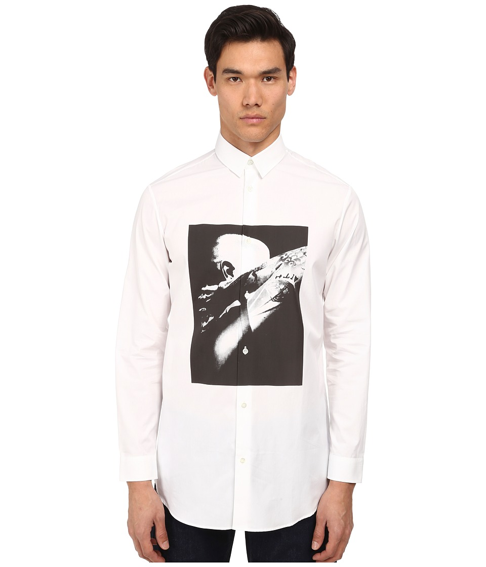 McQ - Long Button Up (Optic White) Men's Long Sleeve Button Up