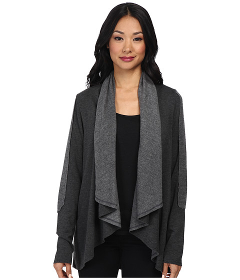 LAmade - Fleece Color Block Cardigan (Charcoal) Women's Sweater