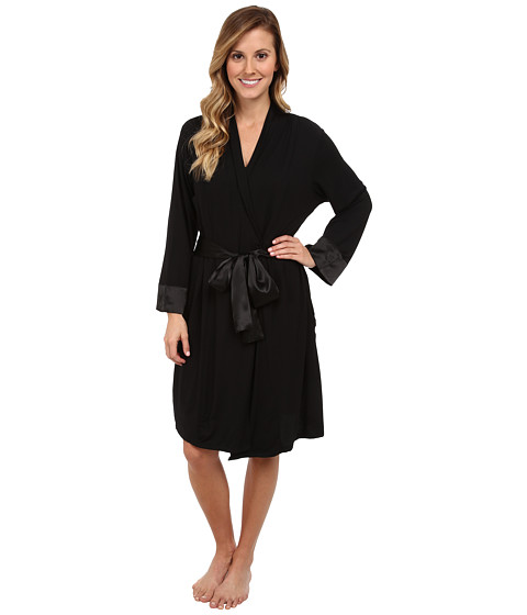 Midnight by Carole Hochman - Classic Moments Short Robe (Black) Women
