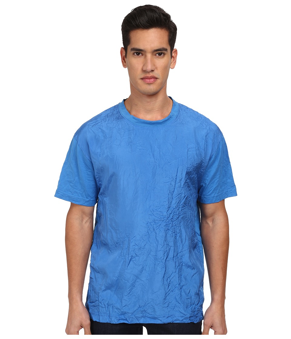 McQ - Silk Front Tee (Padded Blue) Men's Short Sleeve Pullover