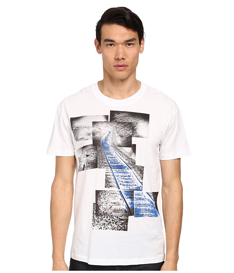 McQ - Train Track Dropped Shoulder Tee (Optic White) Men
