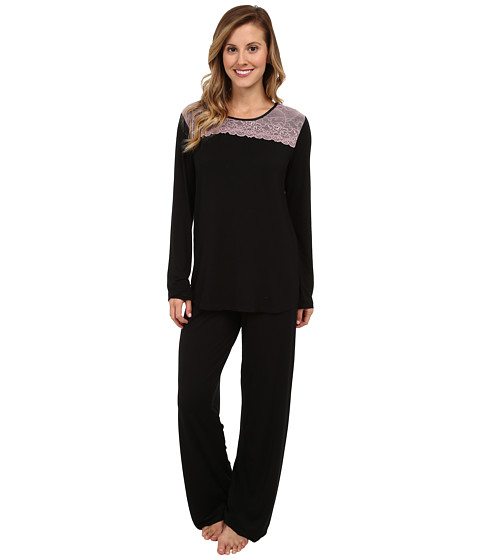 Midnight by Carole Hochman - Alluring Lace Pajama (Black) Women's Pajama Sets