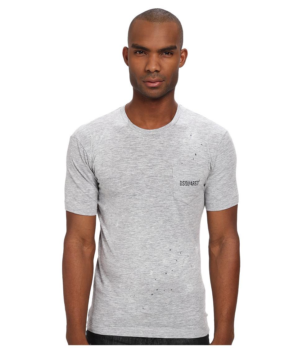 DSQUARED2 - New Dan Fit Pocket Tee (Grey Melange) Men's Short Sleeve Pullover