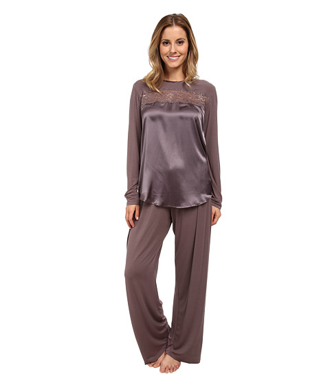 Midnight by Carole Hochman - Beautiful Nights Long Pajama (Sweet Truffle) Women's Pajama Sets