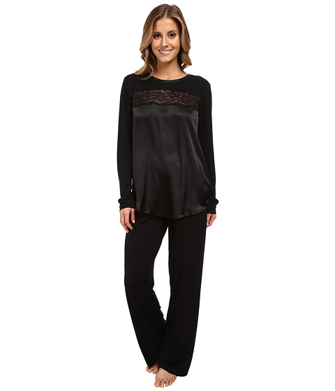Midnight by Carole Hochman - Beautiful Nights Long Pajama (Black) Women's Pajama Sets