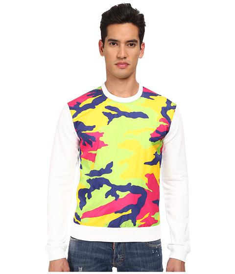 DSQUARED2 - New Dean Fit Camouflage Sweatshirt (White/Fluorescent) Men's Sweatshirt