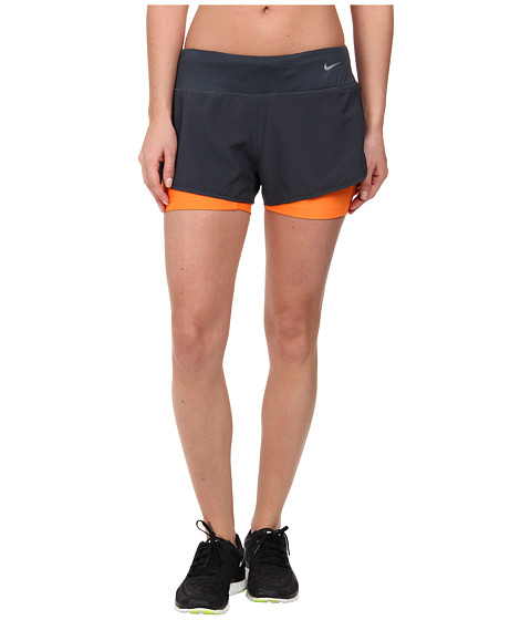 Nike - Perforated Rival 2-in-1 Short (Classic Charcoal/Reflective Silver) Women