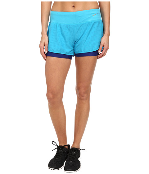 Nike - Perforated Rival 2-in-1 Short (Blue Lagoon/Blue Lagoon/Reflective Silver) Women's Shorts