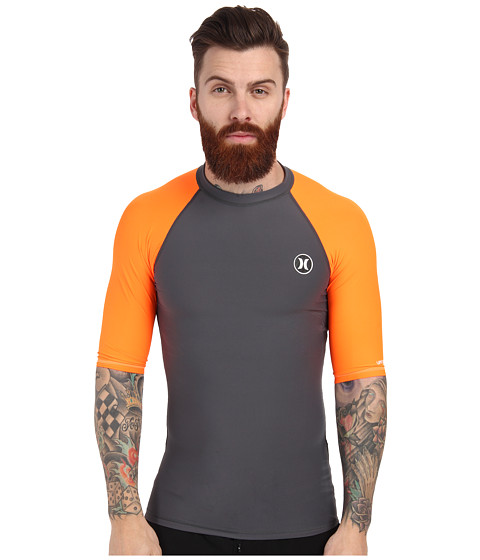 Hurley - Icon S/S Rashguard (Neon Orange) Men