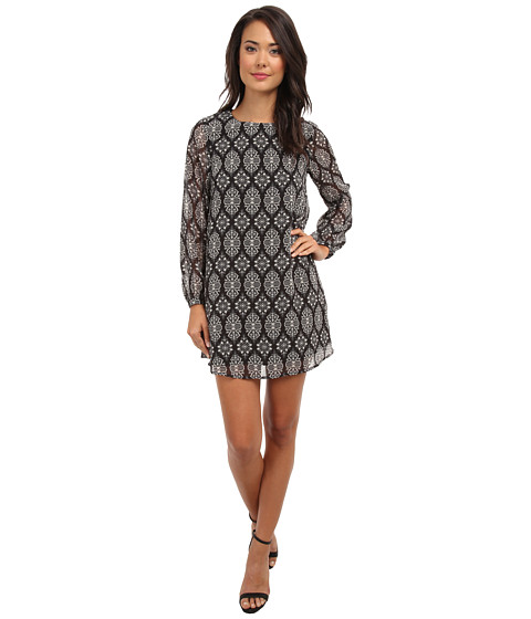 Brigitte Bailey - Medallion Flower Shift Dress (Black/Ivory) Women