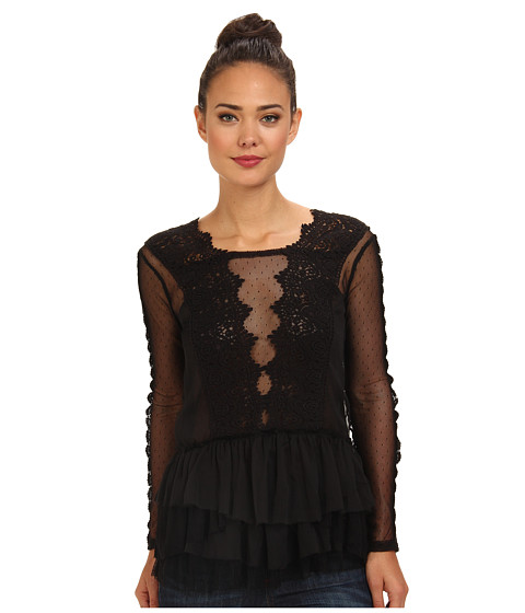 Free People - Midnight Memories Top (Black) Women's Clothing