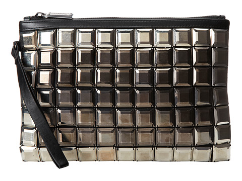 BCBGMAXAZRIA - Tatiana Zip Top Clutch w/ Large Plastic Beading (Gunmetal Combo) Clutch Handbags