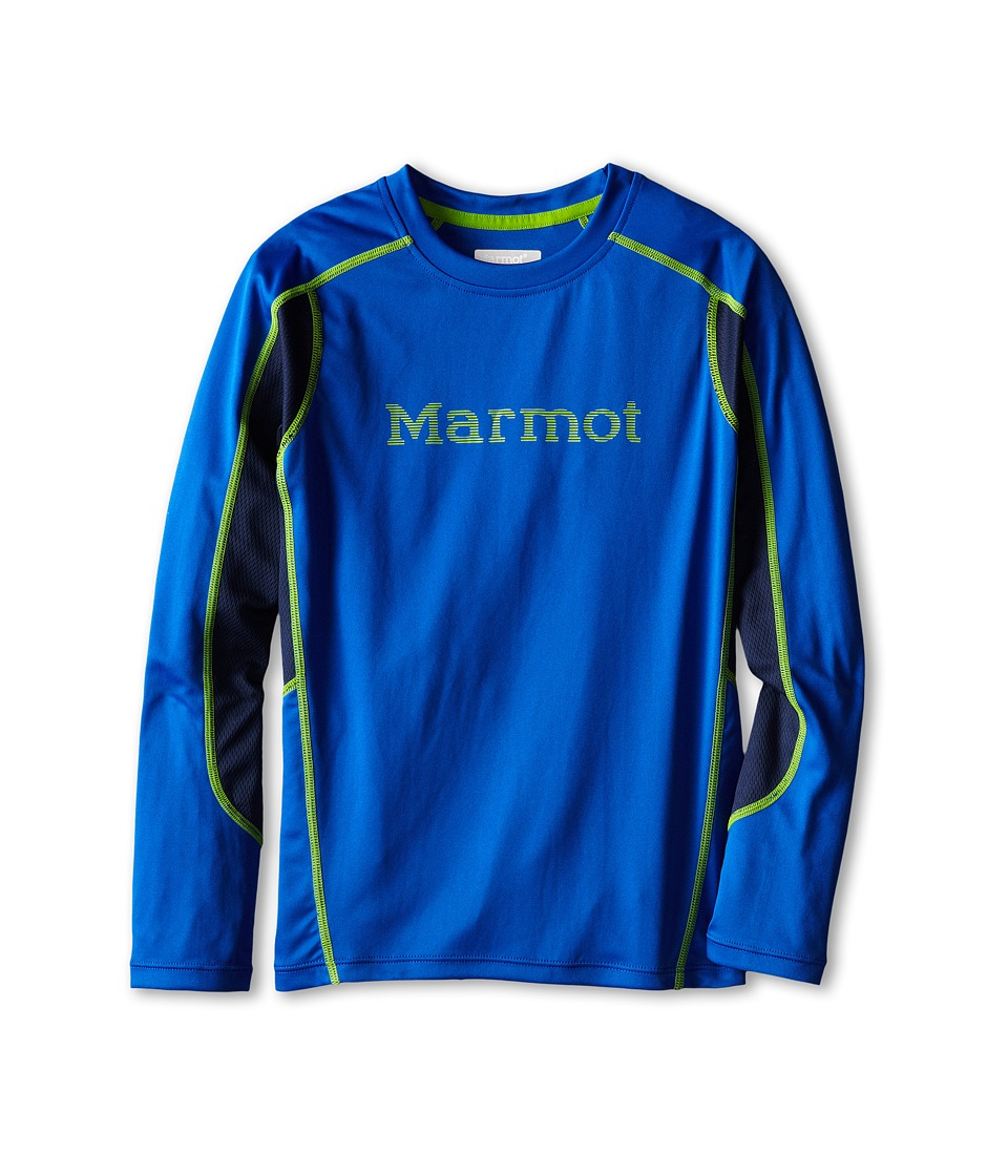 Marmot Kids - Windridge w/ Graphic L/S Top (Little Kids/Big Kids) (Dark Azure/Green Envy) Boy