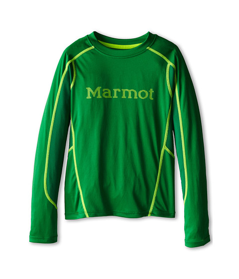 Marmot Kids - Windridge w/ Graphic L/S Top (Little Kids/Big Kids) (Greenway/Hyper Yellow) Boy