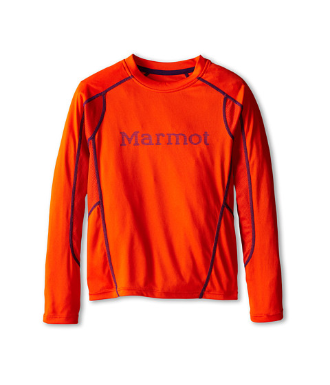 Marmot Kids - Windridge w/ Graphic L/S Top (Little Kids/Big Kids) (Blaze/Royal Grape) Boy