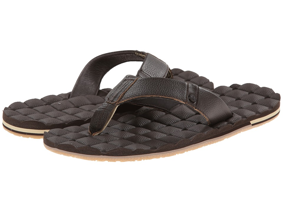 Volcom - Recliner Leather (Brown) Men's Sandals